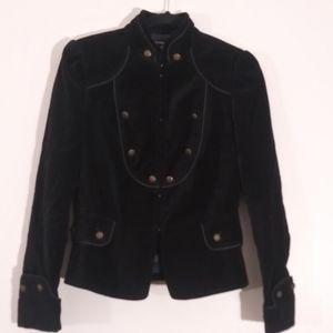 Zara black velvet military style jacket